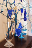 Interior Christmas decoration in blue and siver tones. Stock Image