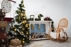 Interior with Christmas decorations. Living room Royalty Free Stock Images