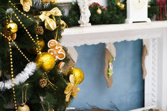 Interior with Christmas decorations. Living room Stock Photo