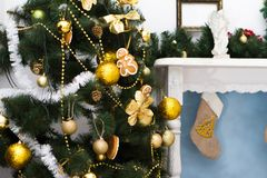 Interior with Christmas decorations. Living room Stock Images