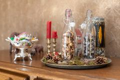 Interior christmas design with bottles royalty free stock photography