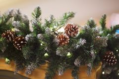 Interior with Christmas pine branches Royalty Free Stock Photography