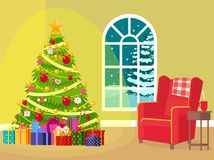 Interior of a Christmas room. Vector illustration. Painted in shape stock illustration