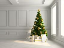 Interior with christmas tree and gift boxes 3d illustration. Interior with the christmas tree and gift boxes 3d illustration Royalty Free Stock Photo