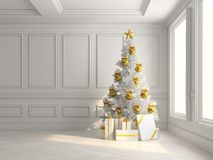 Interior with christmas tree and gift boxes 3d illustration. Interior with the christmas tree and gift boxes 3d illustration Stock Images