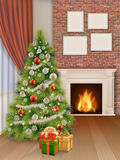 Interior with christmas tree red curtain and fireplace Stock Photography
