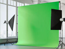 Interior with chroma key background. 3d rendering Royalty Free Stock Photography