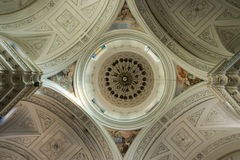 Interior Church cupola from the bottom up in symmetry. Sciaca, italy Stock Image