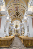 The interior of the church of the Franciscans Royalty Free Stock Photography