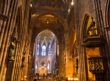 Interior of church Freiburg Muenster, Germany Royalty Free Stock Photography