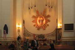 WARSAW, POLAND - MAY 12, 2012: Interior of the Church of the Gracious Mother of God Jesuit Church. Interior of the Church of the Gracious Mother of God Jesuit stock photography