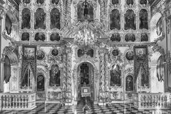 Interior of the Church of Grand Palace in Peterhof, Russia Stock Photos