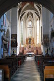 The interior of the church with high vaults Royalty Free Stock Photos