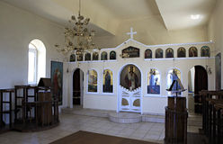 Interior of the church on the hill in Neos Royalty Free Stock Photography