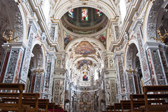 Interior of church La chiesa del Gesu or Casa Professa in Palerm Royalty Free Stock Photo