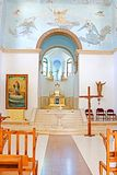 Interior of the church in the monastery of Dir Rafatt , also known as the Shrine of Our Lady Queen of Palestine. And of the Holy Land, Israel Stock Photos