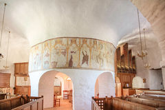 Interior of the church Osterlars Kirke on Bornholm Royalty Free Stock Images