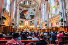 Interior of a church with people in Mexico Stock Image