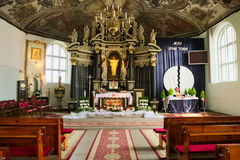 Interior of Church of the Sacred Heart of Jesus in Stegna, Poland. Royalty Free Stock Image