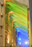 Interior of church Sagrada Familia with colorful lights in Barcelona Royalty Free Stock Photography