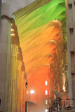 Interior of church Sagrada Familia with colorful lights in Barcelona Royalty Free Stock Photos