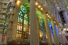 Interior of church Sagrada Familia with colorful windows in Barcelona Stock Photography