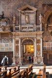 Interior of Church santa maria gloriosa dei frari. VENICE, ITALY - MARCH 30, 2017: interior of Basilica di santa maria gloriosa dei frari The Frari. The Church stock photo