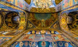 Interior of Church of the Savior on Spilled Blood. St Petersburg,Russia Stock Photos
