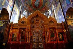 Interior of the church of the Savior on Spilled Blood, St Petersburg. Russia Royalty Free Stock Photos