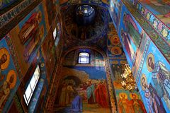 Interior of the church of the Savior on Spilled Blood, St Petersburg. Russia Stock Images