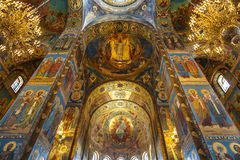 Interior of the Church of the Savior on Spilled Blood in St. Petersburg Royalty Free Stock Photo