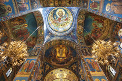 Interior of the Church of the Savior on Spilled Blood in St. Petersburg Royalty Free Stock Images