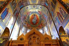 Interior of the church of the Savior on Spilled Blood, St Petersburg. Russia Royalty Free Stock Image