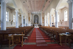 Interior church in Scotland. Typical village church in Scotland, UK, in the middle of the cemetery Stock Photo