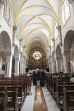 Interior of Church of St. Catherine in Bethlehem. It was first recorded in the 15th century. Is part of the Church of Nativity complex Stock Images
