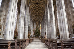 The interior of the Church of St. George in Dinkelsbuhl, Bavaria, Germany. Stock Photography