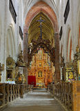 Interior of the Church of St. Jacob in Torun. The foundation stone was laid for the construction of the church in Anno Domini 1309. Torun, Poland Royalty Free Stock Image