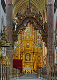 Interior of the Church of St. Jacob in Torun. The foundation stone was laid for the construction of the church in Anno Domini 1309. Poland Royalty Free Stock Images
