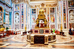 Interior of the church of St. Mary Major, Santa Maria Maggiore is full of works of art Stock Photography