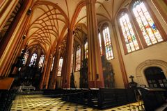 The interior of Church Of St. Mauritius in Olomouc day foto. Stock Photography