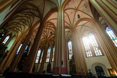 The interior of Church Of St. Mauritius in Olomouc morning foto. Stock Photo