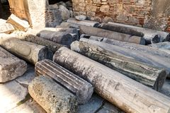Interior of the Church of St. Nicholas in Demre, Turkey. Elements of the destroyed church columns Stock Image