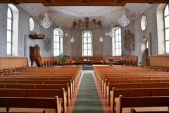 The interior of a Church, Switzerland stock images