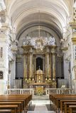 The interior of the Church Trinita dei Monti atop the Spanish steps in Rome. It is located on the very top of the Pinchio hil. L. Italy Stock Image
