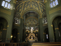 Interior of church in Turin. Beautiful old church in Turin in green colors Royalty Free Stock Photography