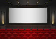 Interior of a cinema movie theatre. Red cinema or theater seats. In front of white blank screen. Empty Cinema auditorium background vector illustration Stock Photo
