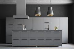 Interior cinzento moderno da cozinha Imagem de Stock