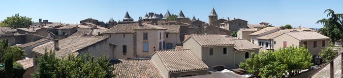Interior of the citadel. Panoramic of the roofs of the interior of Carcassonne's citadel stock image