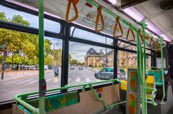 Interior of city bus royalty free stock photo
