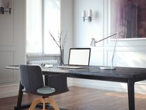 Interior clásico con el lugar de trabajo moderno representación 3d Imágenes de archivo libres de regalías